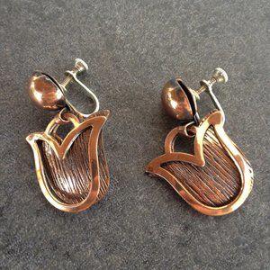 Vintage 60's Copper Dangle Earrings